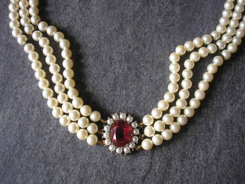 Wedding - LOTUS Royale Pearls, Vintage Pearl Choker, Lotus Pearls, Ruby Bridal Choker, Wedding Necklace, Pearl Necklace, Indian Bridal Choker, Deco