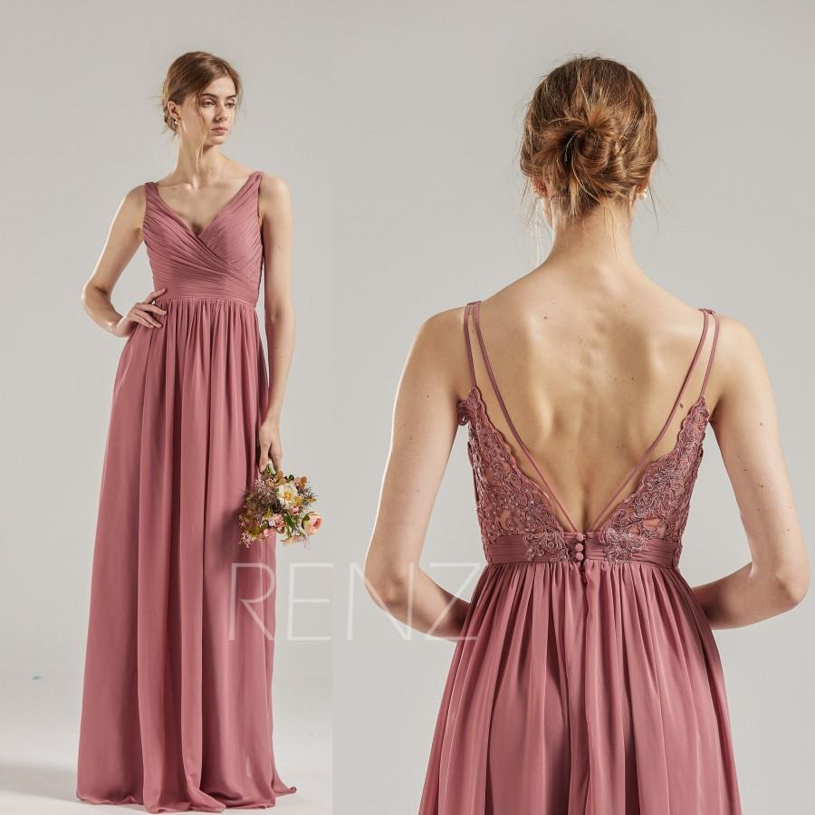 Wedding - Bridesmaid Dress Vintage Rose Chiffon Prom Dress Long Ruched V Neck Formal Dress Backless A-line Evening Dress (H688C)