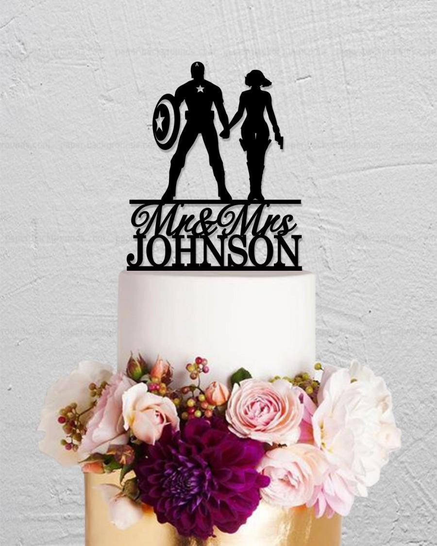Hochzeit - Wedding Cake Topper,Captain America Cake Topper,Black Widow Cake Topper,Mr Mrs Cake Topper,Custom Cake Topper With Last Name