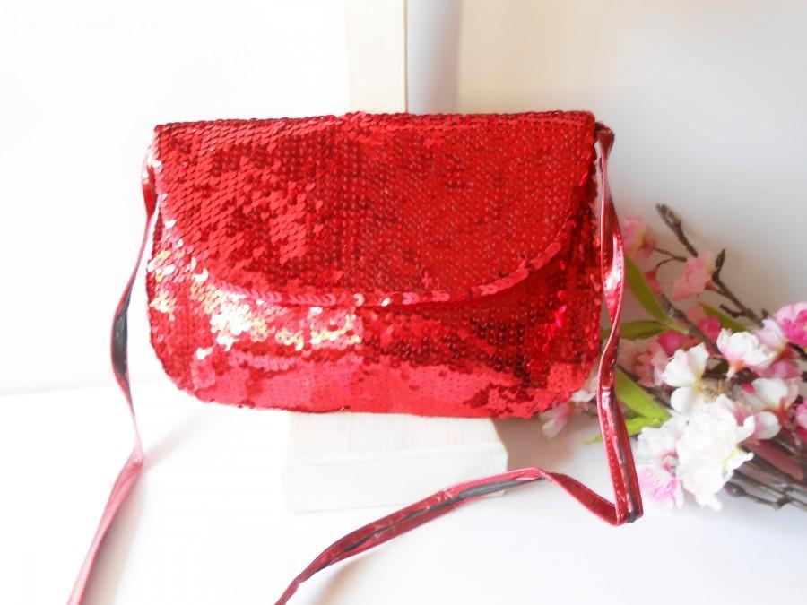 Wedding - Glamorous Holiday Evening Bag, Vintage Red Sequin Handbag EB-0518