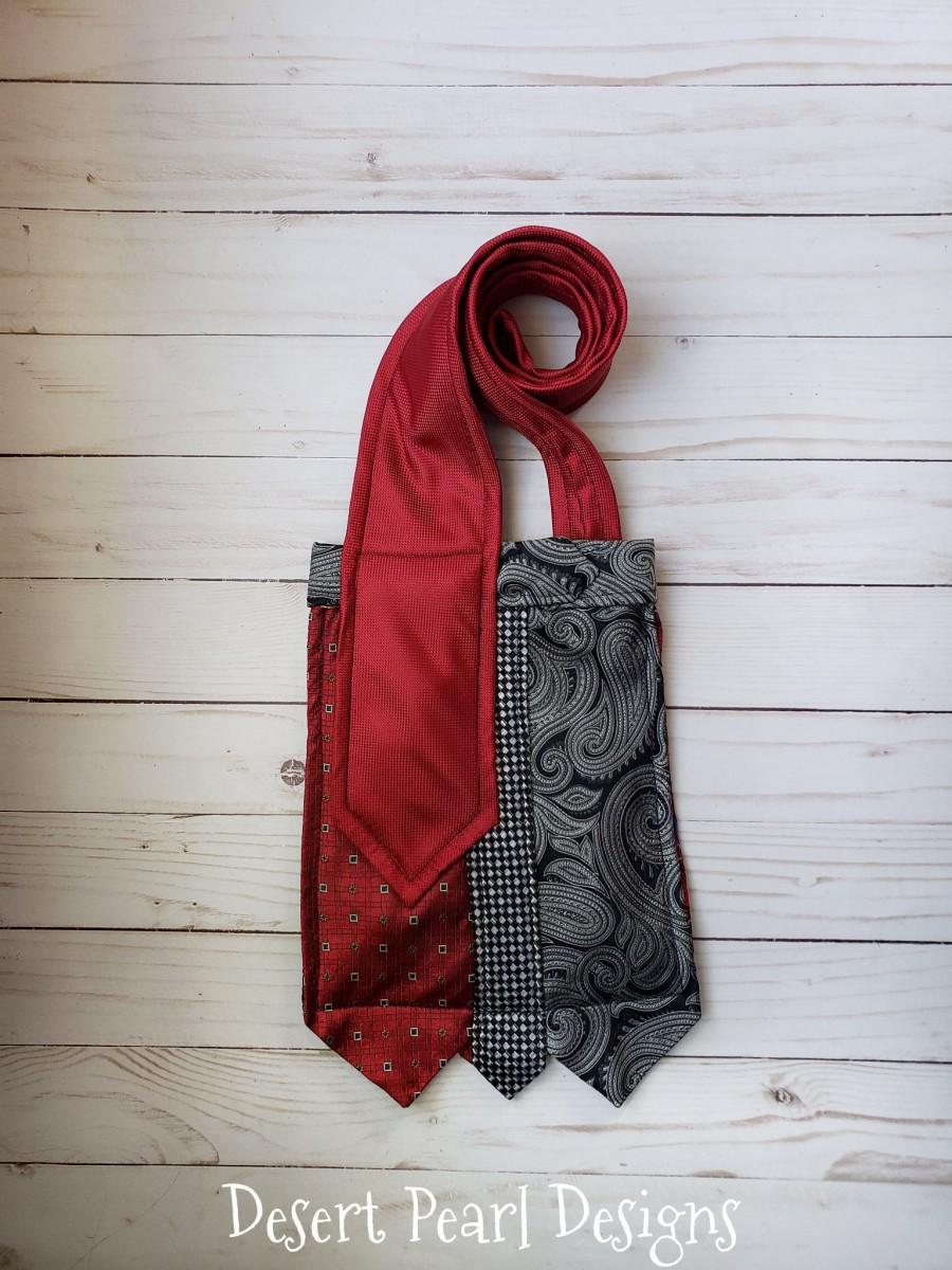 Wedding - Bold red necktie crossbody bag, red tie shoulder bag, red steampunk bag, ecofriendly purse, gift for her, repurposed tie purse, unique purse