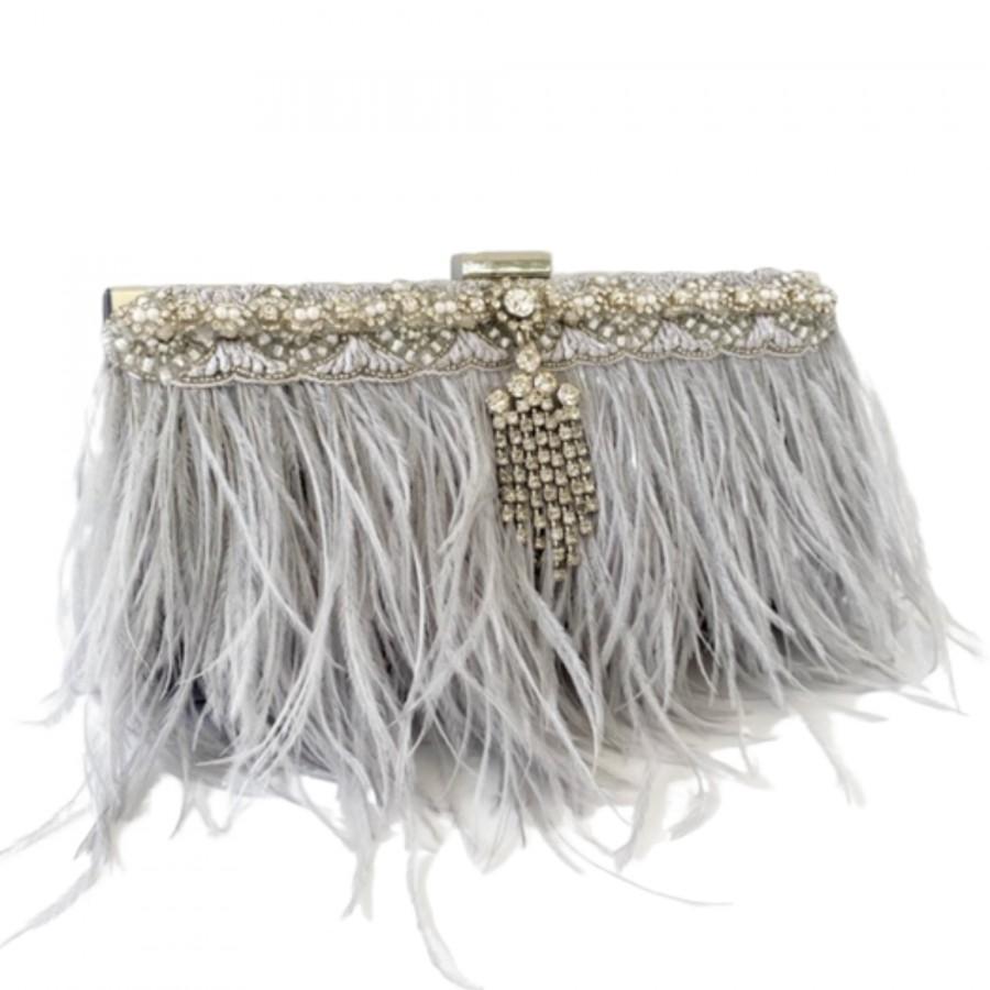 Свадьба - Gray Ostrich Feather Wedding Clutch, Rhinestone Bridal Purse, Mother of the Bride, Vintage Wedding, Fall Wedding, Bridal Clutch Bag