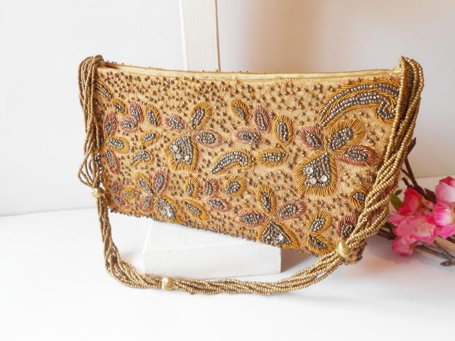 Wedding - Vintage Mocha Evening Bag, Mocha Copper Grey Beaded Handbag EB-0234