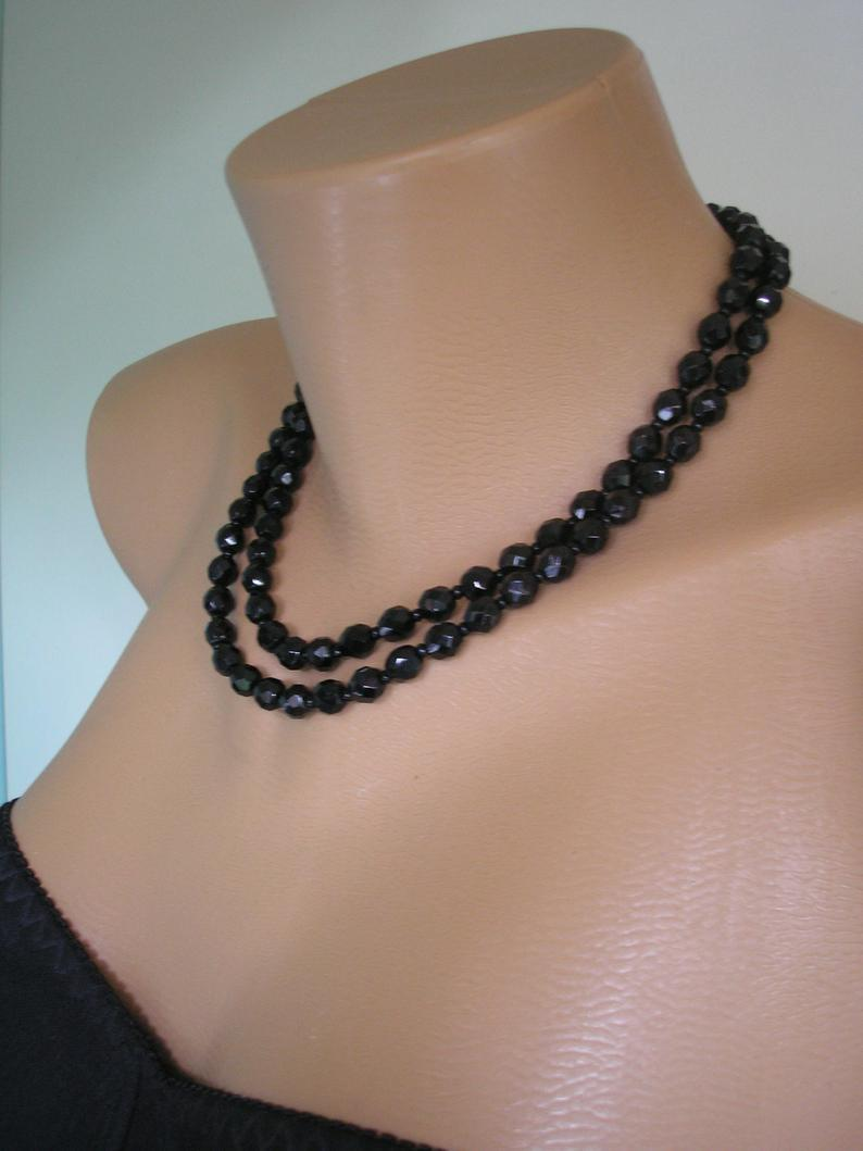 Wedding - 2 Strand Vintage French Jet Necklace, Black Party Necklace, Cocktail Jewellery, French Jet Choker, 1950s Black Beads, Sparkly Black Beads