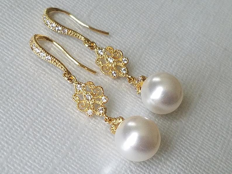 Wedding - Gold Pearl Bridal Earrings, Swarovski White Pearl Chandelier Earrings, Wedding Pearl Jewelry, Pearl Dangle Bridal Earrings, Wedding Jewelry