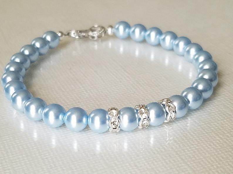 Wedding - Blue Pearl Wedding Bracelet, Swarovski Light Blue Pearl Bracelet, Pastel Blue Dainty Bracelet, Blue Pearl Bridal Jewelry, Something Blue