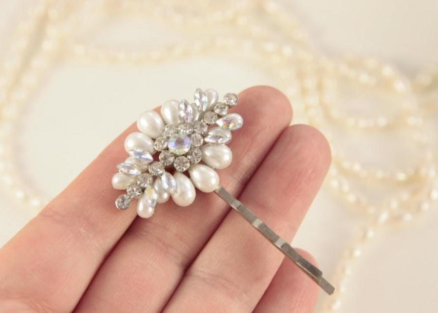 Wedding - Pearl Hair Pin Crystal Bobby Pins Rhinestone Pearl Head Pin Bridal Hair Pin Bridal Hair Piece Wedding Accessories White Pearls Pearl Clip
