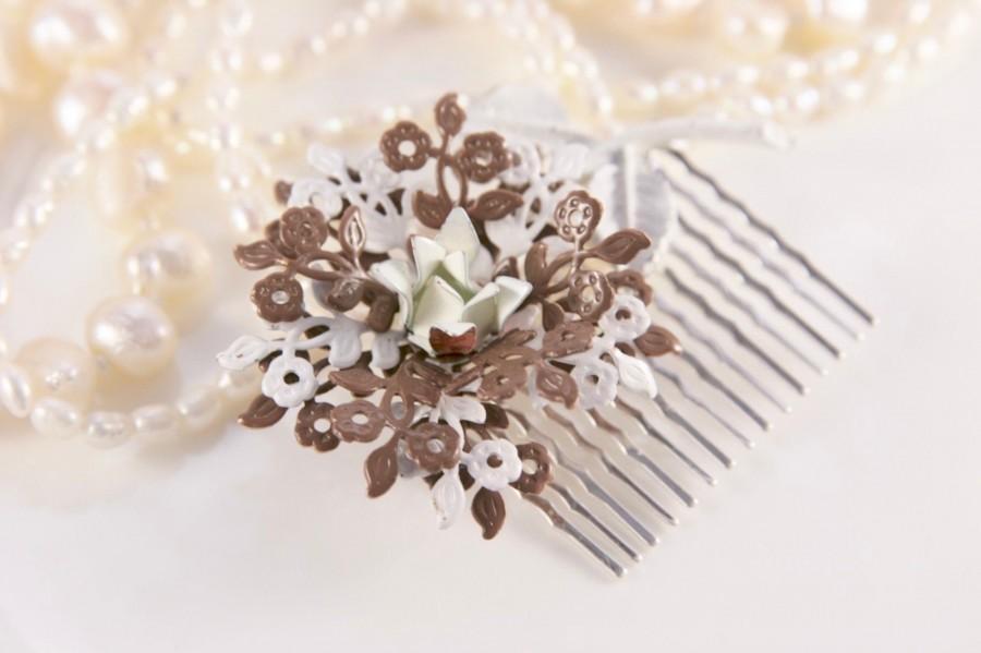 Wedding - Woodland Wedding Vintage Flower Hair Comb, Enamel Hair Comb, Vintage Hair Comb,  Brown Hair Comb, Bridal Headpiece, Nature Inspired, Floral