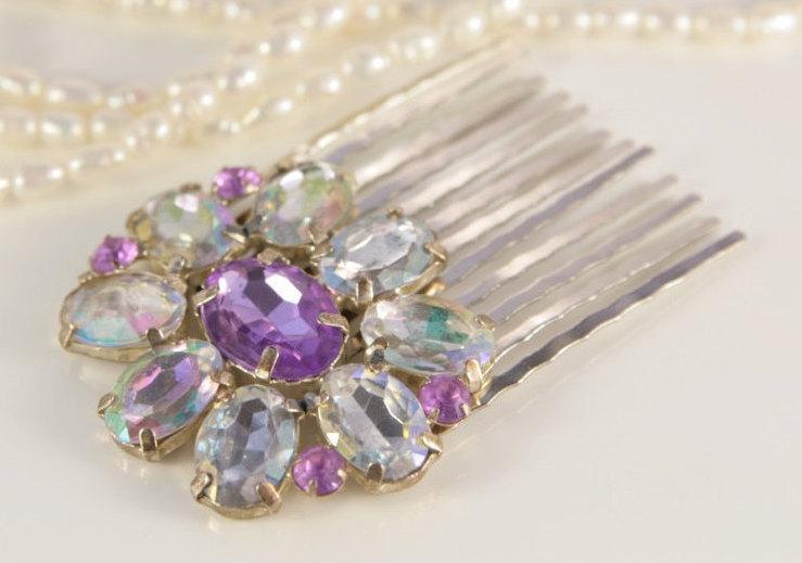 Wedding - Pink Bridal Comb Clear Violet Comb Decorative Comb Pastel Amethyst Imitation Comb Art Deco Hair Comb Vintage Jewellery Clip Flower Hair Pin