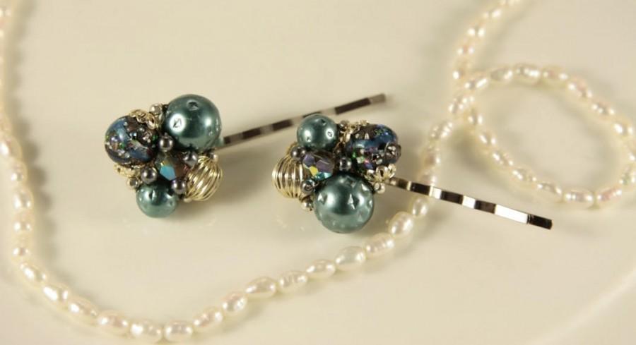 Wedding - Black Pearl Hair Pins Green Bobby Pins Vintage Wedding Bobby Pins Pair Hair Pins Vintage Hair Clip Silver Bubble Head Pin Bridal Headpiece