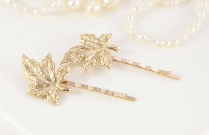 Wedding - Gold Leaf Hair Pin Vintage Leaves Hair Pins Bridal Hair Pins Pair Wedding Pins Two Head Pins Autumn Fall Hair Accessory Hairpiece Retro Clip
