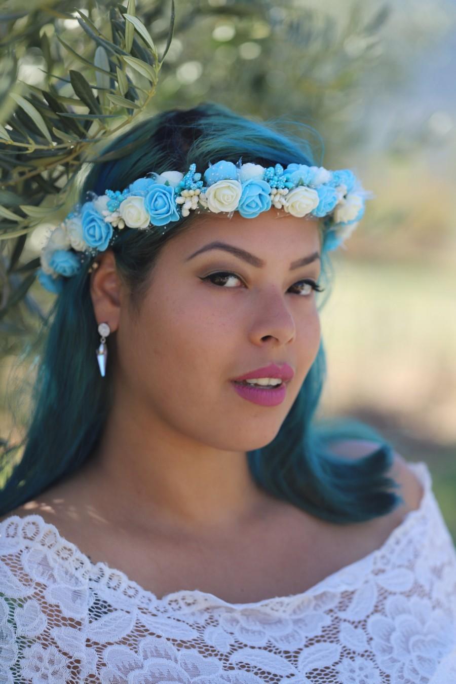 Wedding - Turquoise Ivory Flower Bridal Crown  Flower Wedding Crown  Bridal Flower Headpiece Bridesmaid flower headpiece, Wedding Flower Crown Tiara