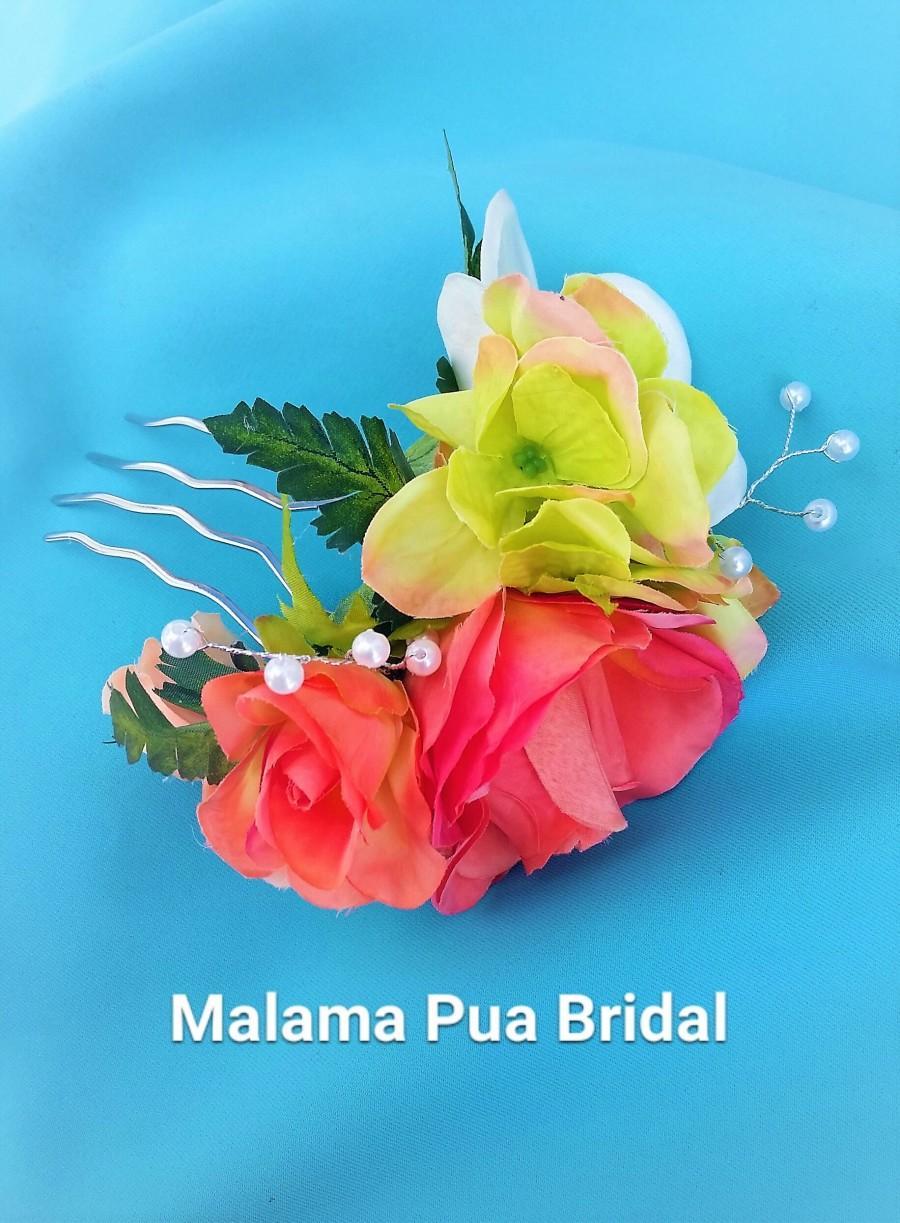 Wedding - Silk Hair flower, hair accessory, Peach, coral & lime, Tropical Hair clip, Hawaiian, Bridal headpiece, Wedding hairpiece, Beach, Fascinator
