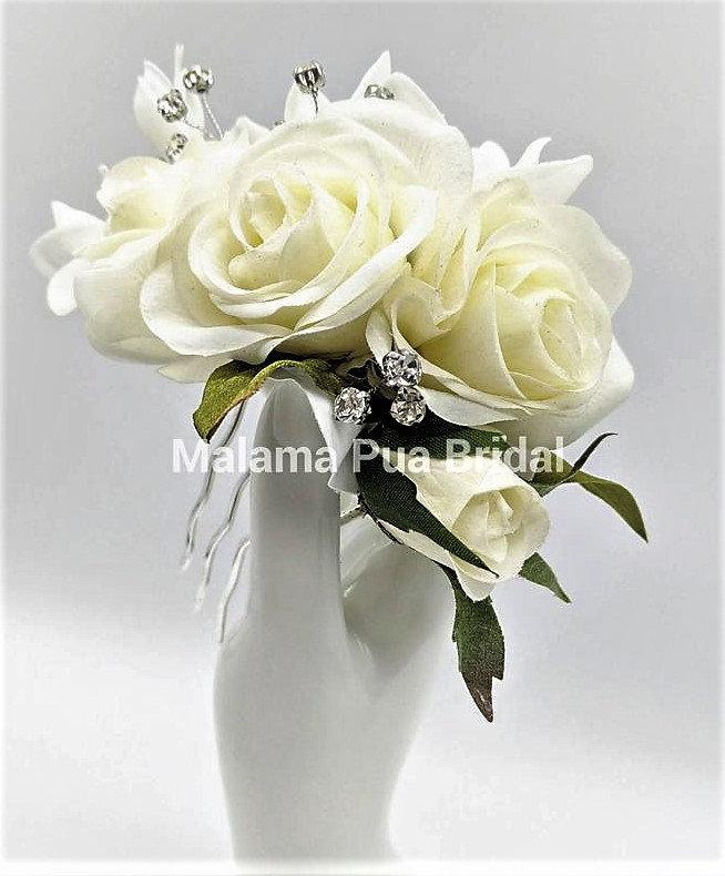 Wedding - Wedding Headpiece, Bridal hair accessory, real touch roses, custom hair clip, silk flowers, bridal hair clip, Beach, Fascinator, headpiece