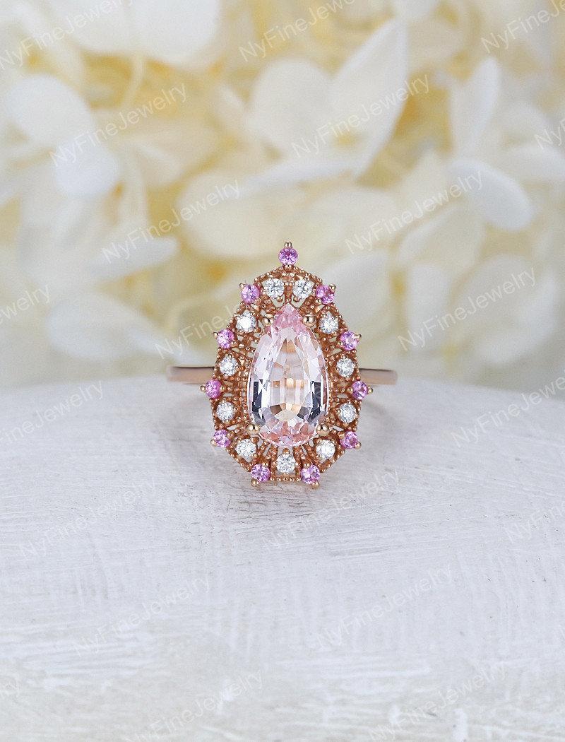 Mariage - Pear shaped Morganite engagement ring rose gold vintage unique Halo diamond pink sapphire Wedding  birthstone Anniversary
