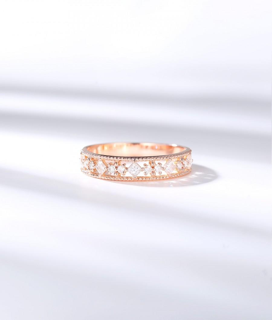 Wedding - Vintage Diamond band Rose gold Moissanite wedding band princess  cut half eternity dainty art deco stacking matching band anniversary bridal