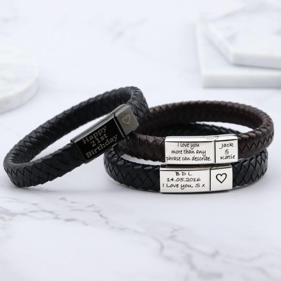 Wedding - Vienna Leather & Stainless Steel Mens Engraved Bracelet