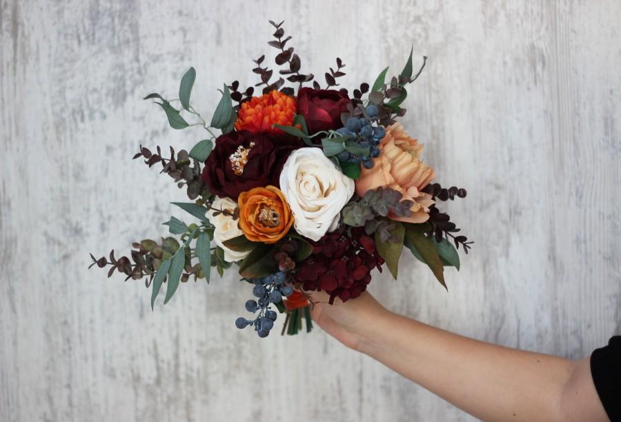 Wedding - Rust burgundy bridesmaid bouquet Bridal flowers Faux bouquet Fall wedding Orange burgundy wedding Silk flowers Boho wedding-size 11 inch