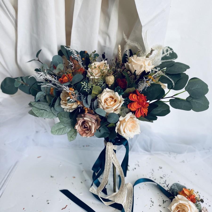 زفاف - Wedding boho bouquets, silk roses wedding bouquets, bridesmaids bouquets, rustic bouquets, rust orange silk flowers boho wedding bouquets