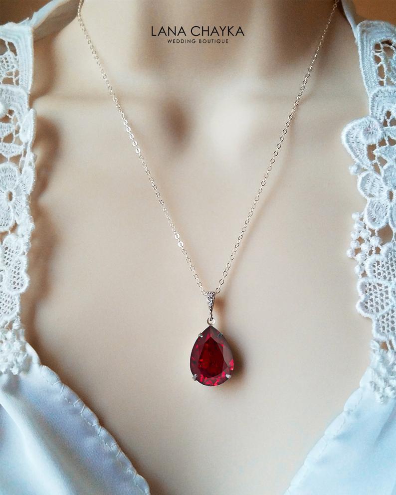Wedding - Dark Red Crystal Necklace, Wedding Red Teardrop Necklace, Swarovski Siam Red Pendant, Wedding Red Jewelry, Bridal Bridesmaids Red Necklace