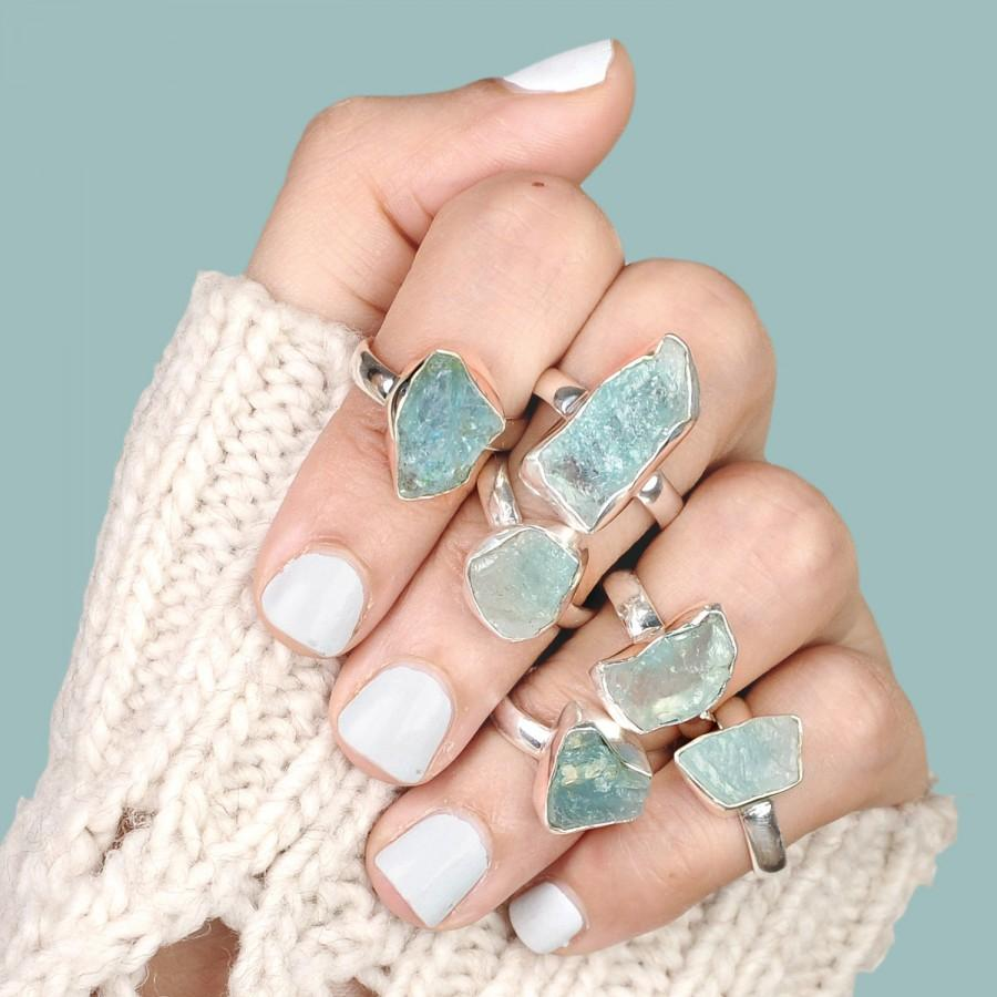 Wedding - Raw Aquamarine Ring, Sterling Silver Rings for women, Natural Uncut Gemstone Crystal Raw Stone Ring,