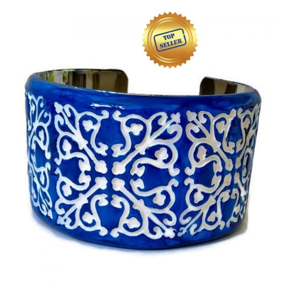 Wedding - Portuguese clay tile cuff bracelet, azulejo cuff bracelet, Portuguese tile jewelry, Portugal azulejo, hand sculpted, Portuguese gift