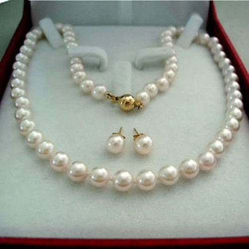 Wedding - BEST SELLER Akoya Cultured Shell Pearl Jewelry Set Necklace Earrings