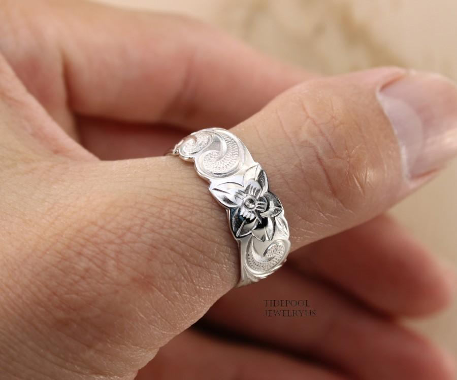 Wedding - Hawaiian Heirloom Sterling Silver Thumb Ring, Hawaiian wedding band, Plumeria ring, thumb ring, engraved ring