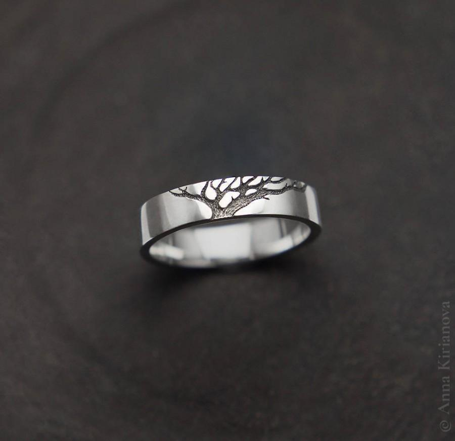 Wedding - Tree of Life Ring, Nordic Ring, Nordic Wedding Band Set His and Her, Tree Engraved Ring, Modern Ring, Woman & Man Tree Ring, Nature Ring
