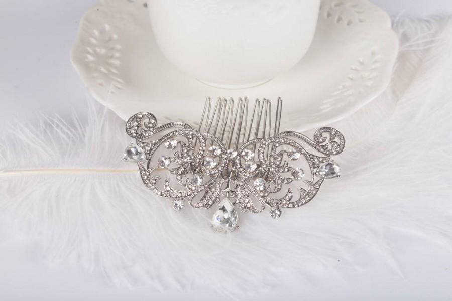 Mariage - Rhinestone Bridal Comb Large Crystal Bridal Art Deco Hair Comb, Great Gatsby, Hairpiece, Bridal Hair Accessory, Crystal Headpiece AMELIA