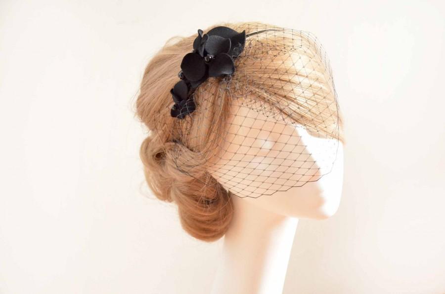Wedding - Black birdcage veil headband, Halloween birdcage veil, Black fascinator veil, Veil headband, Mini birdcage veil with headpiece, Black veil