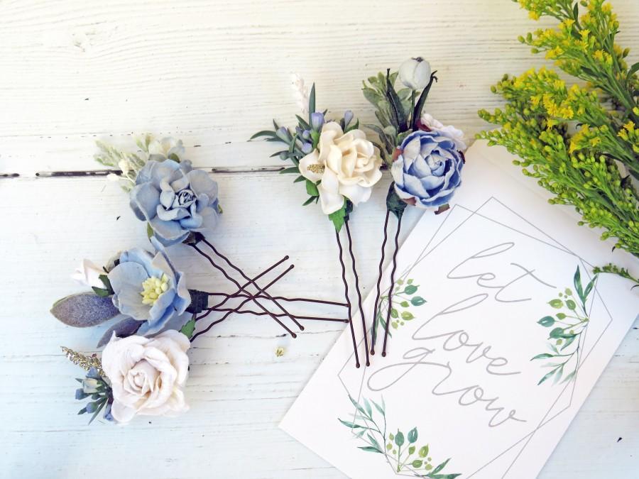 Wedding - Blue Flower Hair Pins, Set of 5 Flower Hair Pins, Bridal Hair Pins