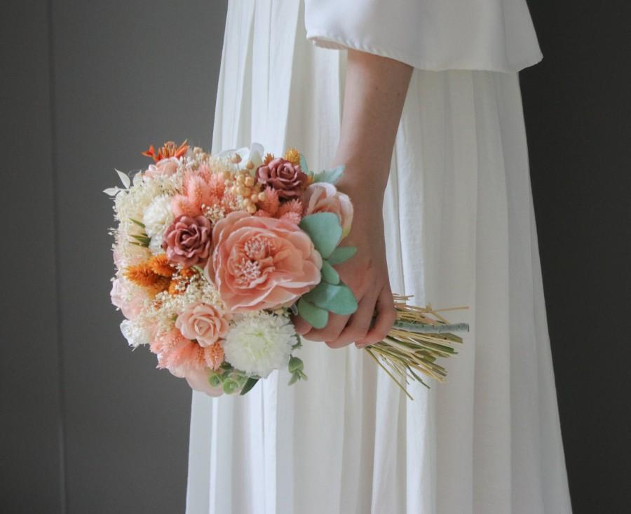Wedding - Boho Bride Bouquet, Dried Flower Bridal Bouquet, boho weddings, bloom Bouquet with Paper Roses and Large Peony