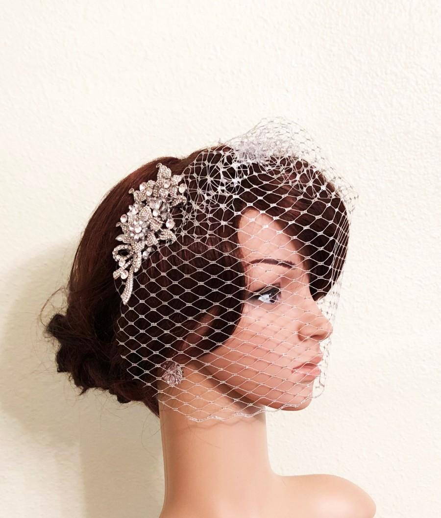 Wedding - Birdcage Veil, Silver Metallic Wedding Veil, Crystal Birdage Veil, Wedding Comb, SilverMetallic Birdcage Veil, Bride Comb, Wedding Blusher