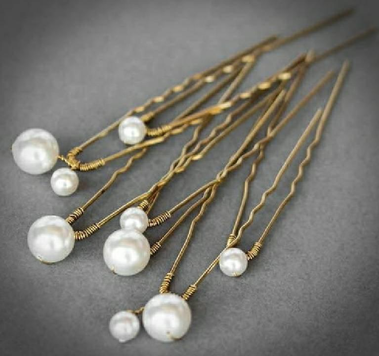 Wedding - Pearl Hair Pins, set of seven Ivory White Pearl Wedding Hair Pins for Bride or Bridesmaid, Bridal Hair Accessory or Evening Wear