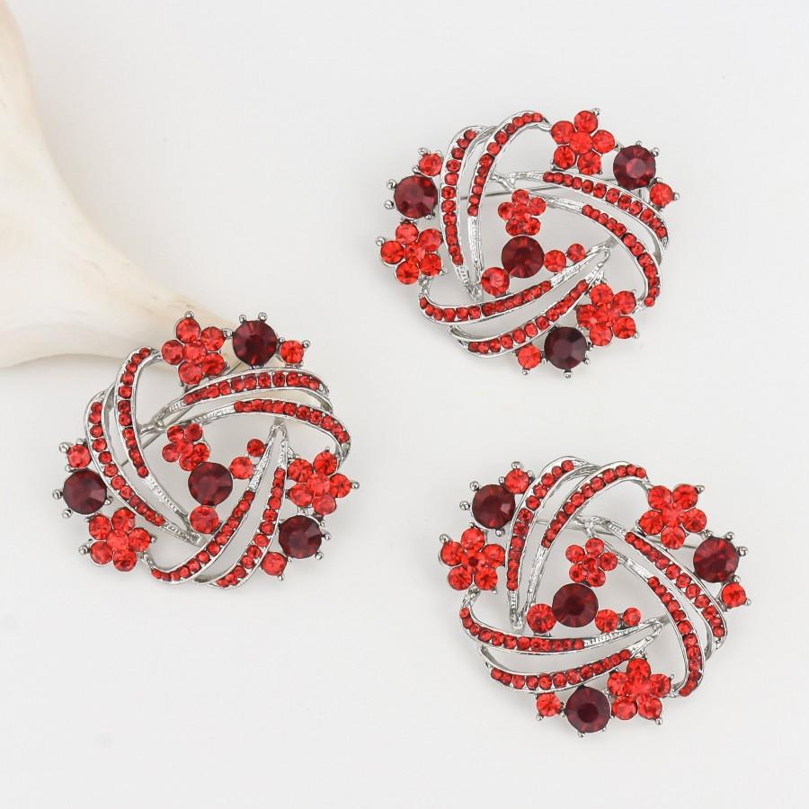 Wedding - 3 pcs - DIY Bouquet Brooches, Crystal Red Brooches, Wedding Cake Brooches, Bridal Sash Pin, Rhinestone Red Brooches.