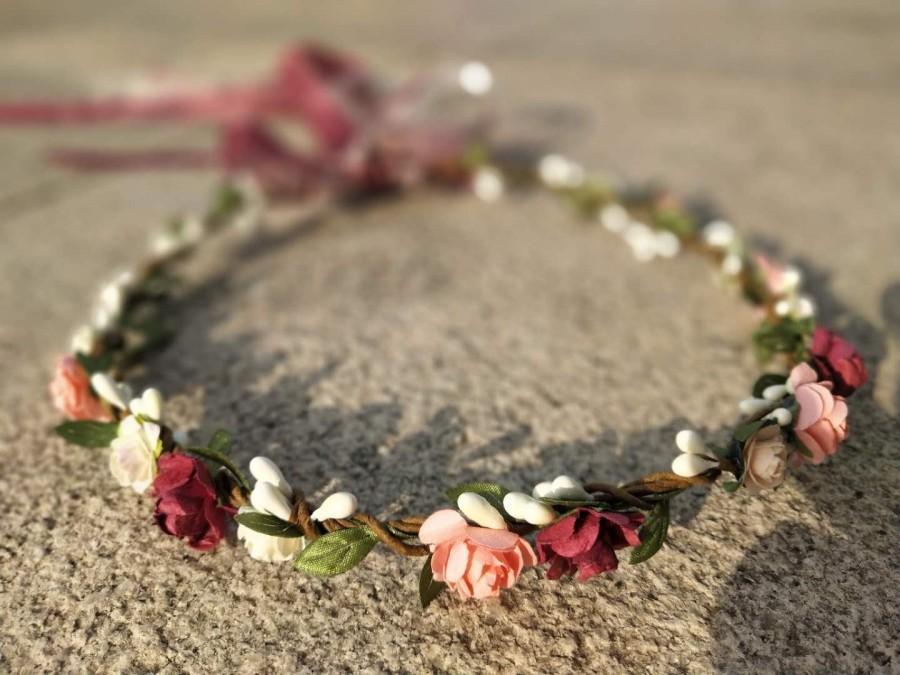 Wedding - Burgundy & Pink Flower Crown, Flower girl crown, Bridesmaid flower crown, Flower girl headband, Wedding flower crown. Bridal flower crown