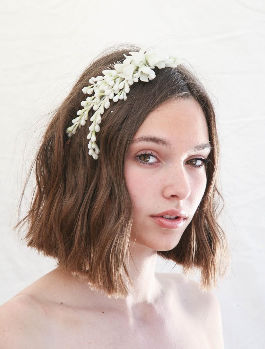 Wedding - Antique Wax Flower Wedding Headpiece, Vintage Wax Flower and Bud Vintage Bridal Comb Vintage Wedding Accessory