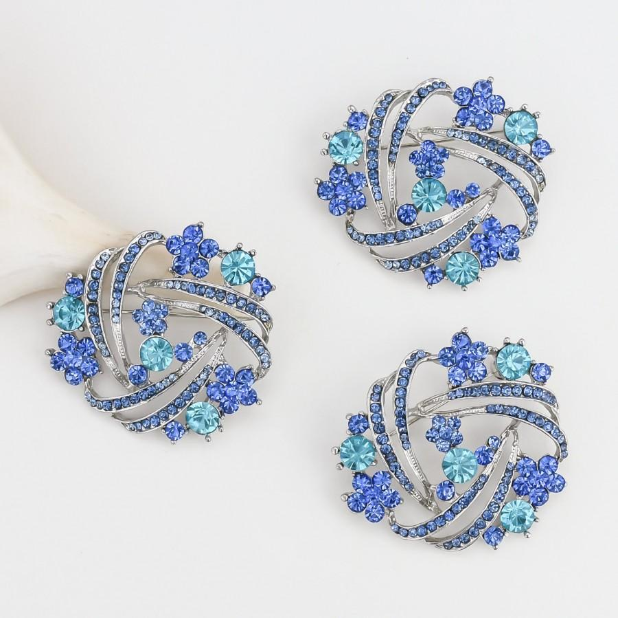 Wedding - 3 pcs - DIY Bouquet Brooches, Crystal Aqua Blue Brooches, Wedding Cake Brooches, Bridal Sash Pin, Rhinestone Blue Brooches.