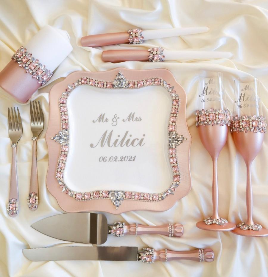 Wedding - Quinceanera cake cutting set pink quinceanera glass rose, toasting flutes, glasses for bride and groom