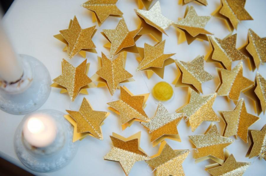 Wedding - Holiday decor, Christmas clearance, Christmas clearance, Glitter garland, gold garland, gold star garland, Unique gifts, Celestial