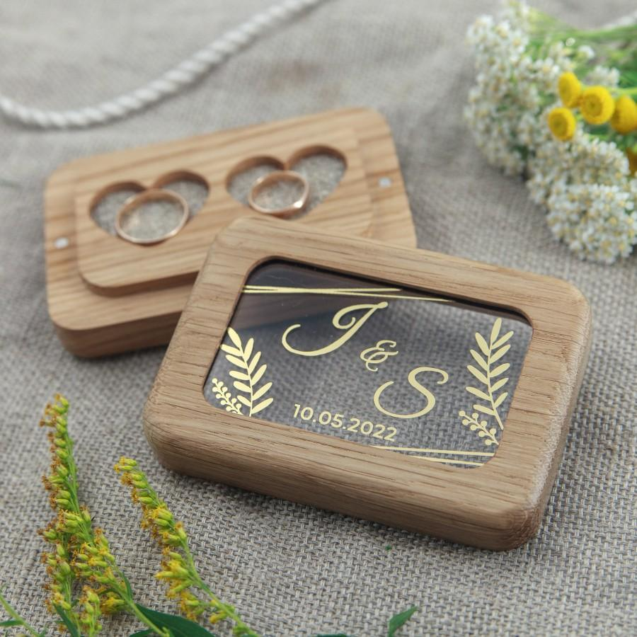 Wedding - Wood  double  ring box new, wedding wood ring pillow, ringkissen, personalized ring bearer box