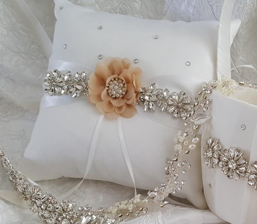 Wedding - Ring Bearer Pillow, Flower Girl Basket, Wedding Basket and Pillow Set - Style 360