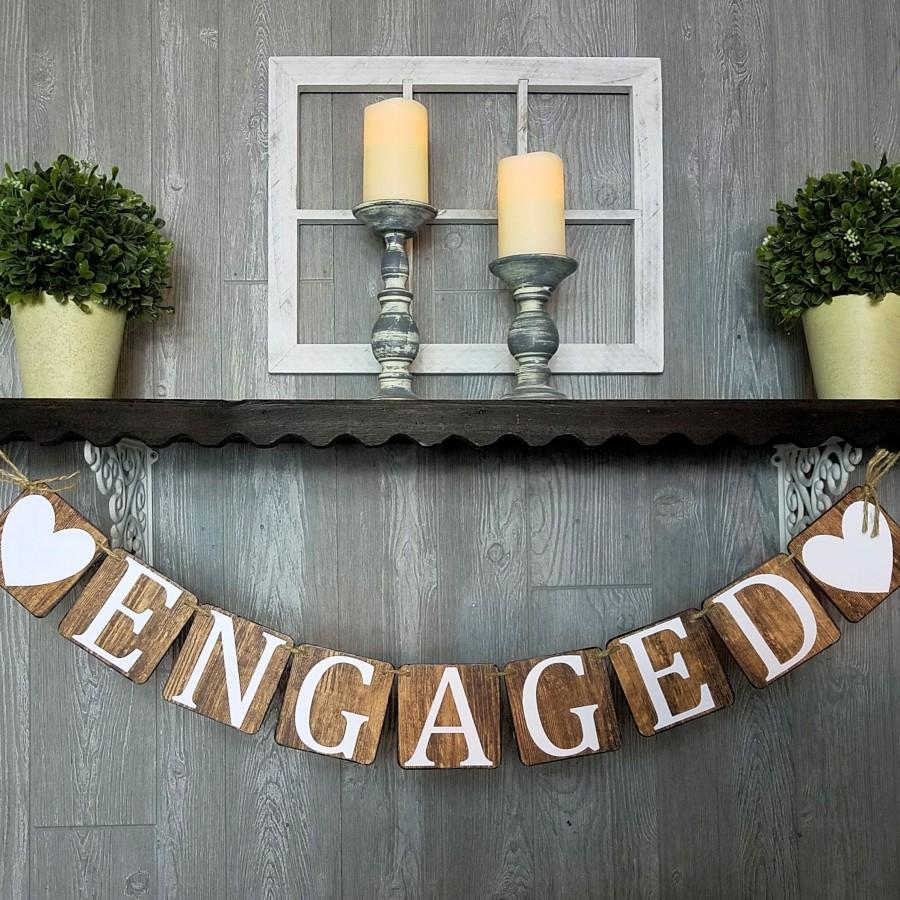 Wedding - Engaged Banner, Wood Look Chipboard Banner, Engagement Party Decoration, Bridal Shower Decoration, Photo Prop For Engagement, She Said Yes!