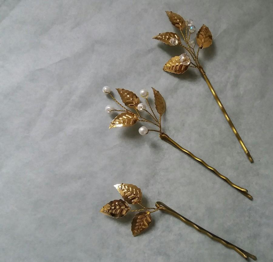 Свадьба - Gold leaf hair pin Beauty the beast Fall wedding hair piece Bridal hair accessory Prom hair comb Flower girl gift bobby pin Bridal shower