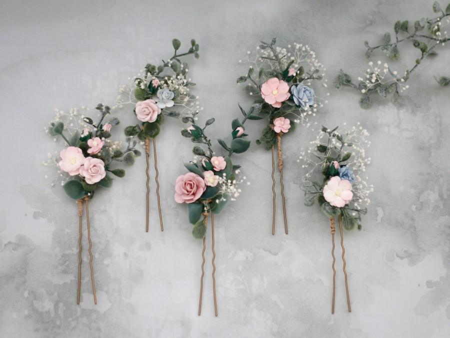 Wedding - Blush blue hair pins for wedding, set floral hair pins, flower bobby pins, wedding hair pin, bridesmaid hair pin
