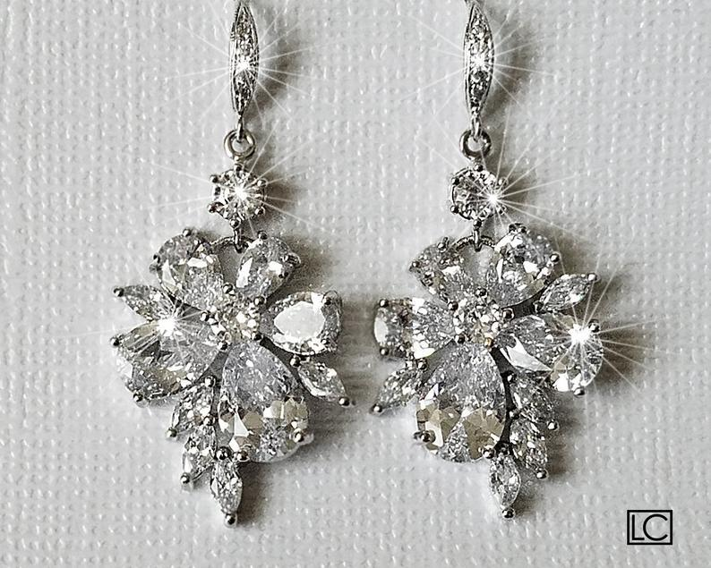 Wedding - Crystal Bridal Earrings, Cubic Zirconia Chandelier Earrings, Sparkly Floral Crystal Earrings, Wedding Jewelry, Bridal Statement Earrings
