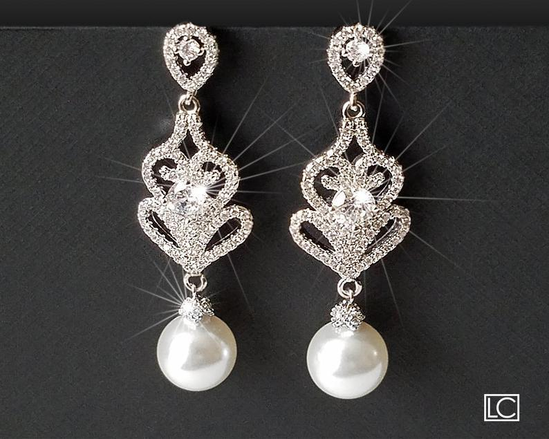 Mariage - Pearl Chandelier Earrings, Bridal Pearl Earrings, Swarovski White Pearl Silver Earrings, Statement Earrings, Bridal Jewelry, Dangle Earrings