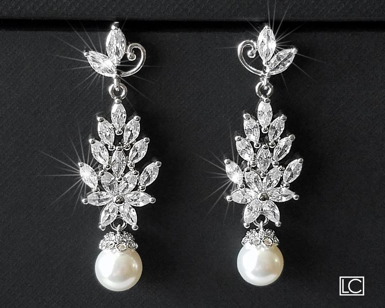 Hochzeit - Pearl Bridal Chandelier Earrings, Wedding Pearl Jewelry, Swarovski White Pearl Leaf Cluster Earrings, Marquise Earrings, Statement Earrings