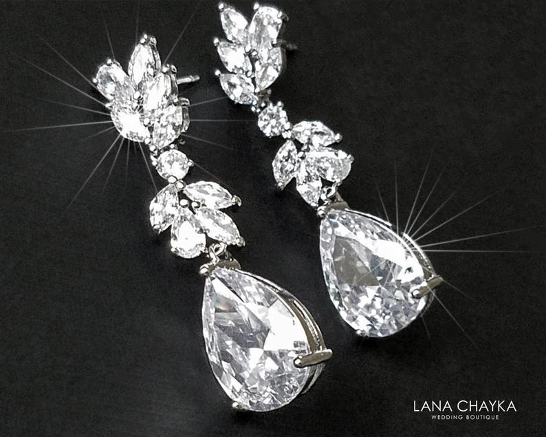 Wedding - Crystal Chandelier Bridal Earrings, Cubic Zirconia Wedding Earrings, Sparkly Silver Dangle Earrings, Bridal Jewelry, Statement CZ Earrings